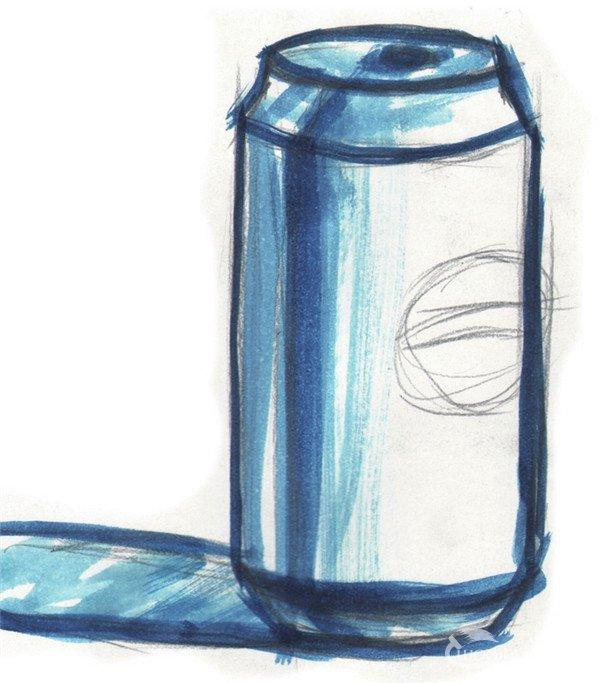 单色水粉画可乐的绘画步骤二
