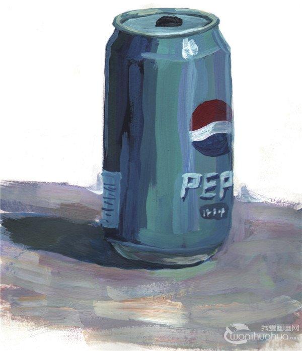 水粉画可乐瓶的绘画教程(6)