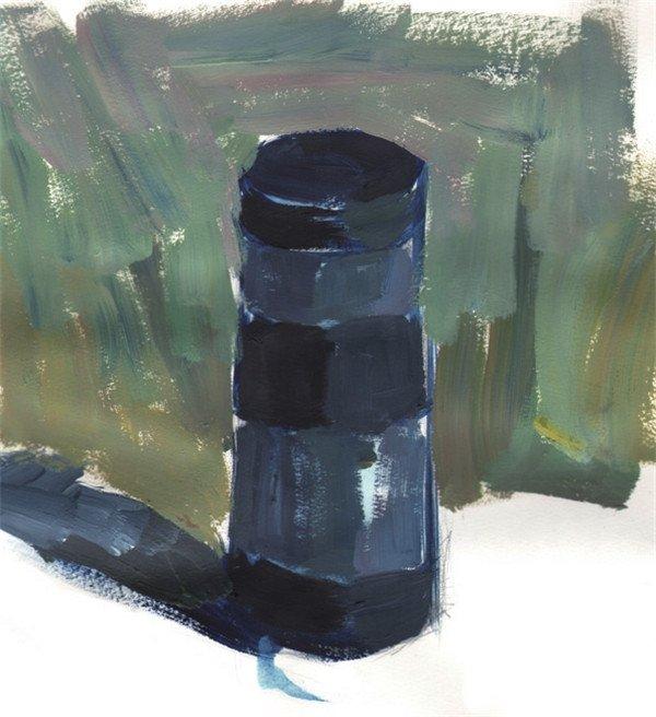 单色静物水粉画:水杯的绘画步骤教程(4)