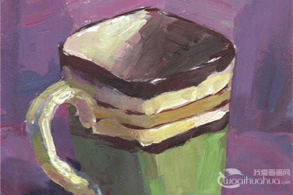 单色静物水粉画:水杯的绘画步骤教程