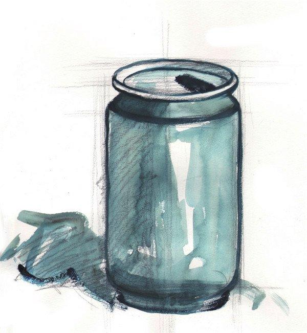 水粉静物易拉罐绘画步骤二