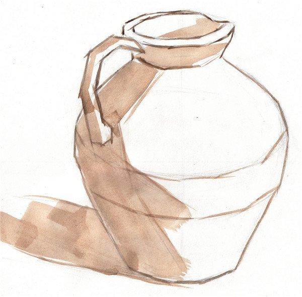 水粉静物写生:褐色陶罐的画法步骤教程