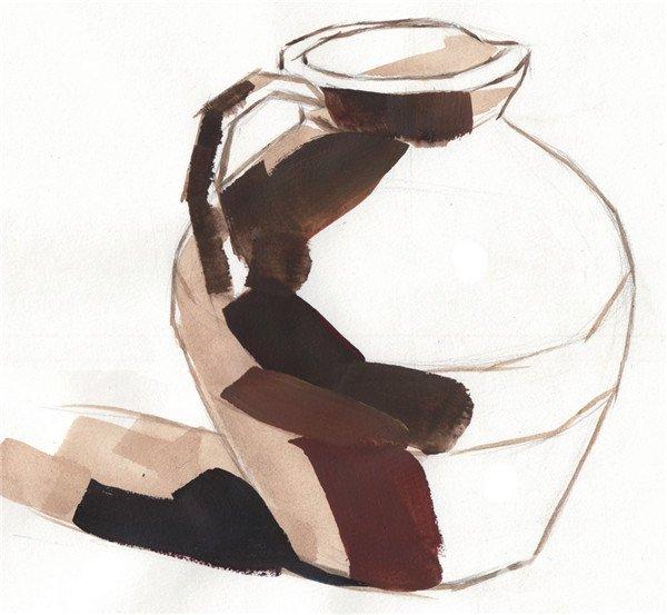 水粉静物褐色陶罐绘画步骤三