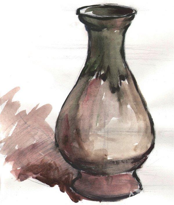 水粉绿色花瓶绘画步骤二