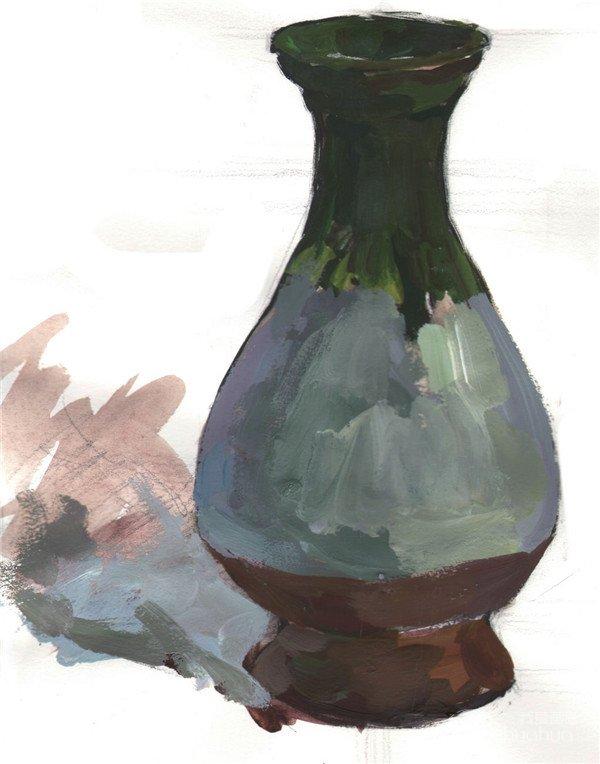 水粉绿色花瓶的绘画技法 4