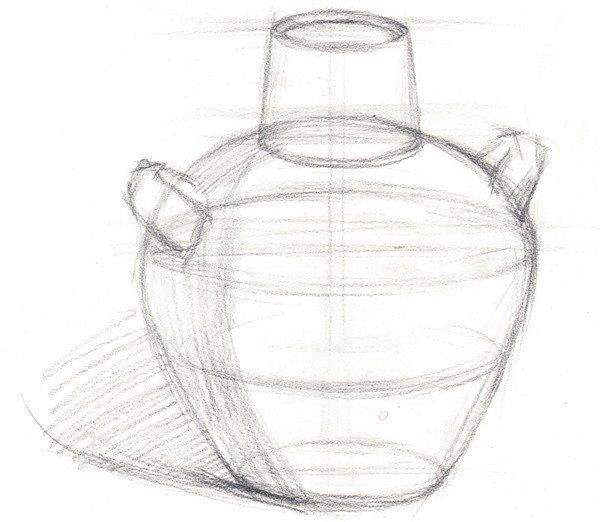 水粉静物写生入门 陶罐的绘画教程