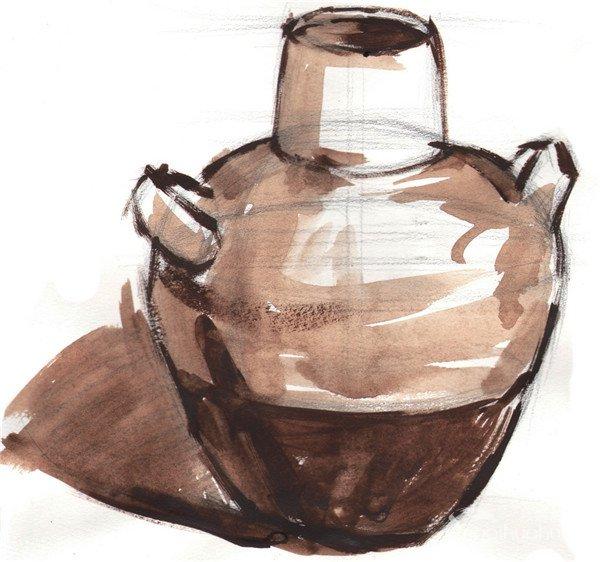 水粉静物写生入门 陶罐的绘画教程 2