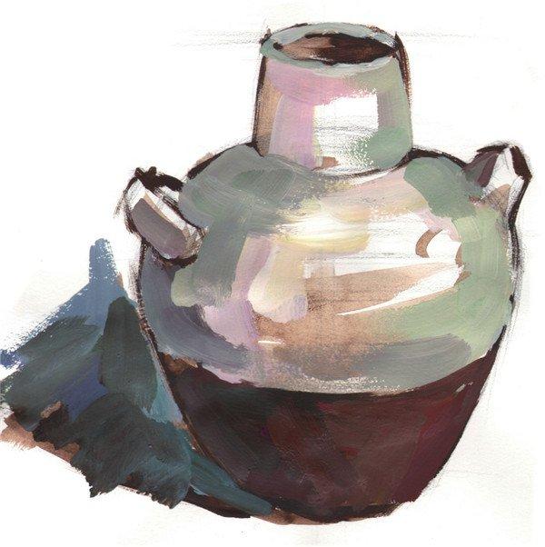 水粉陶罐绘画步骤教程三    步骤四:画出罐子亮部的颜色,然后画出