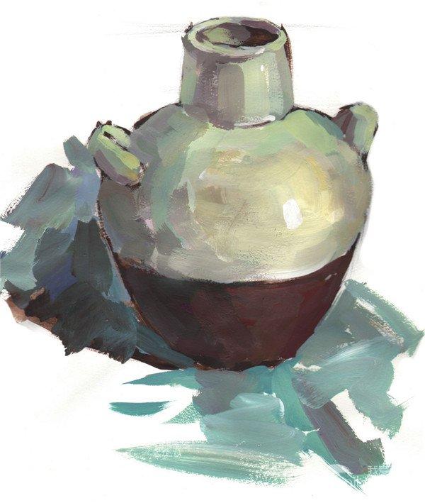 水粉陶罐绘画步骤教程四