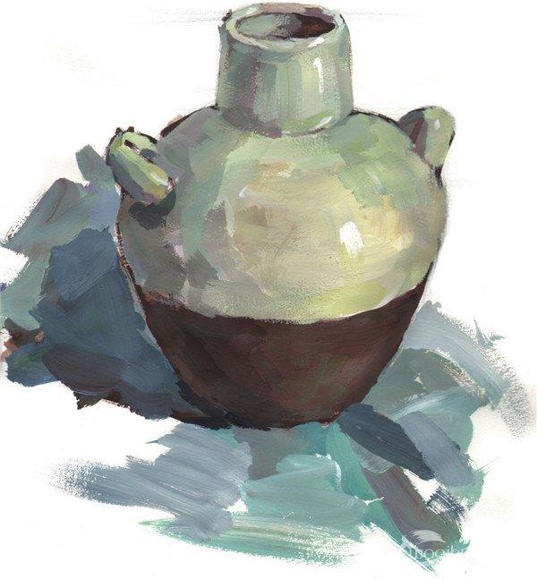 水粉静物写生入门 陶罐的绘画教程 3