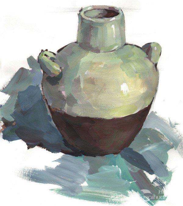 水粉陶罐绘画步骤教程六
