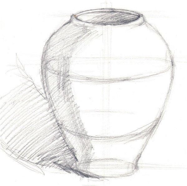 水粉紫色陶罐绘画步骤一