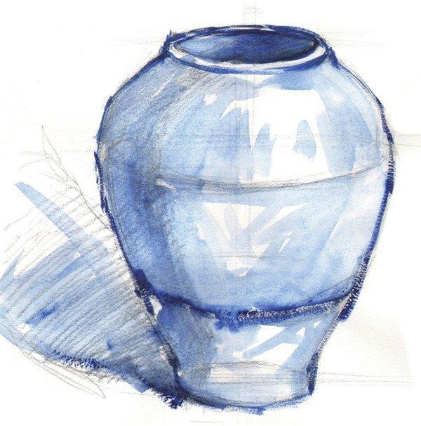 水粉紫色陶罐的绘画技法(3)