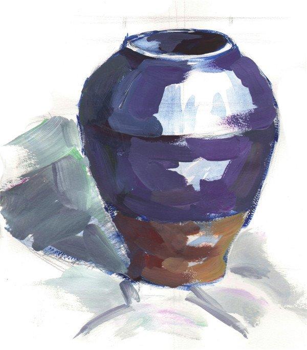 水粉紫色陶罐绘画步骤三
