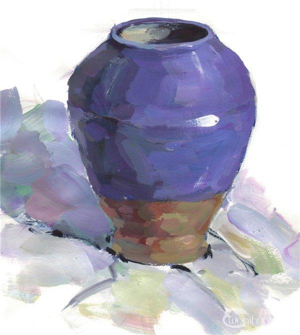 水粉紫色陶罐绘画步骤五