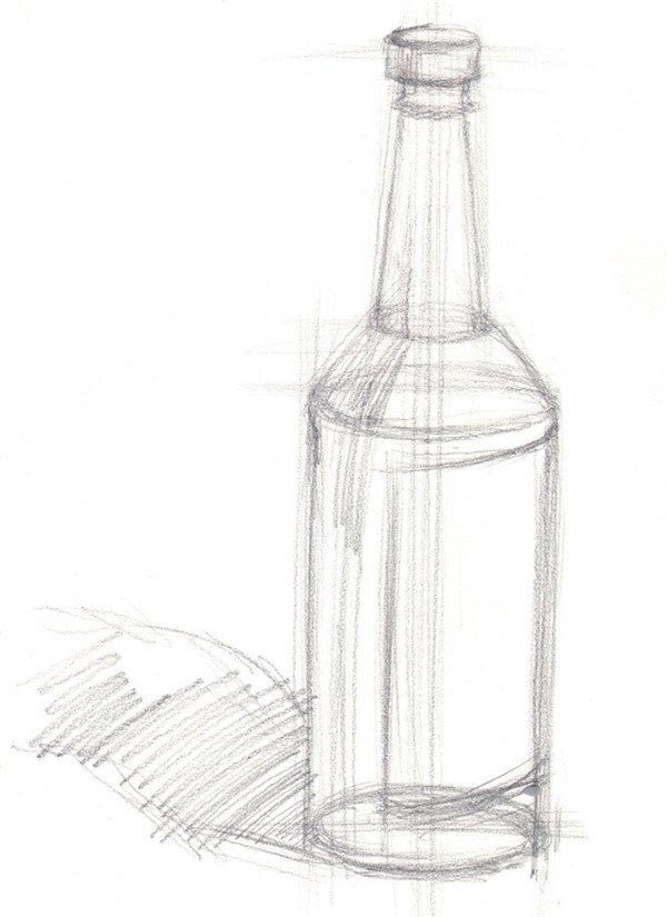 水粉酒瓶绘画步骤一