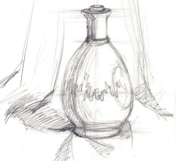 水粉圆形白瓶的画法步骤图片