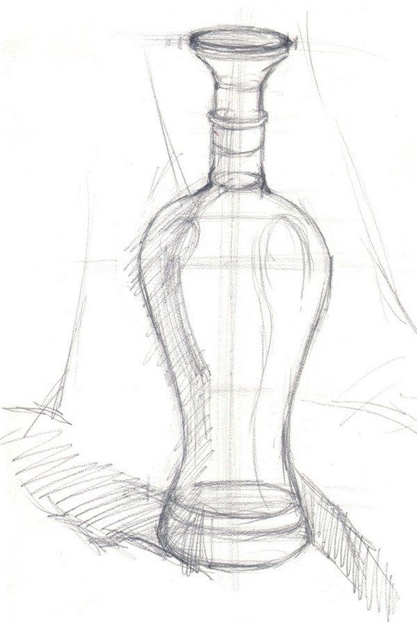 水粉蓝色酒瓶绘画步骤一