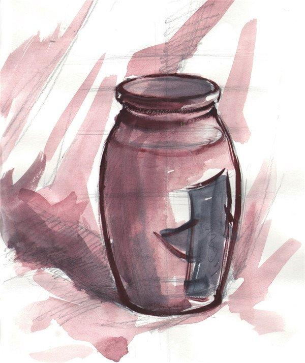 水粉玻璃瓶的绘画步骤(3)_水粉画教程_学画画_我爱
