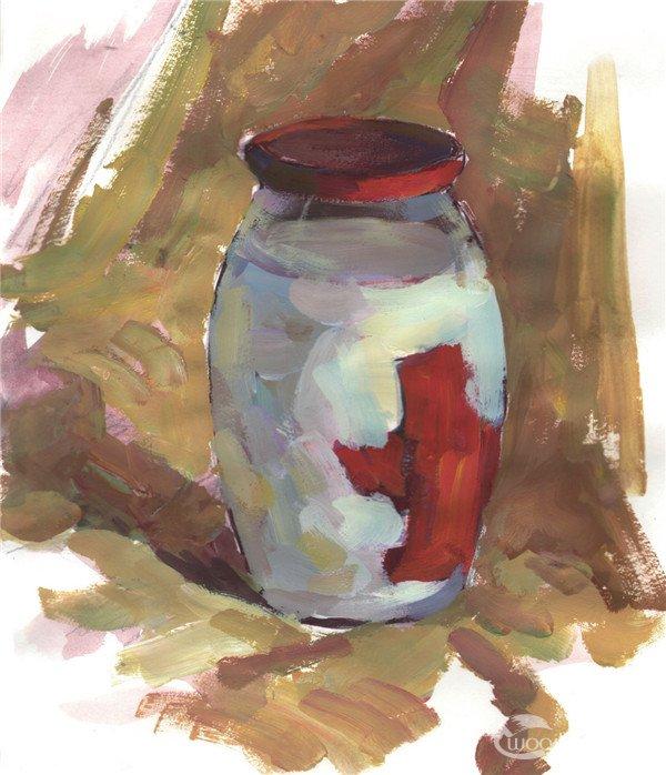 水粉玻璃瓶的绘画步骤(5)_水粉画教程_学画画_我爱