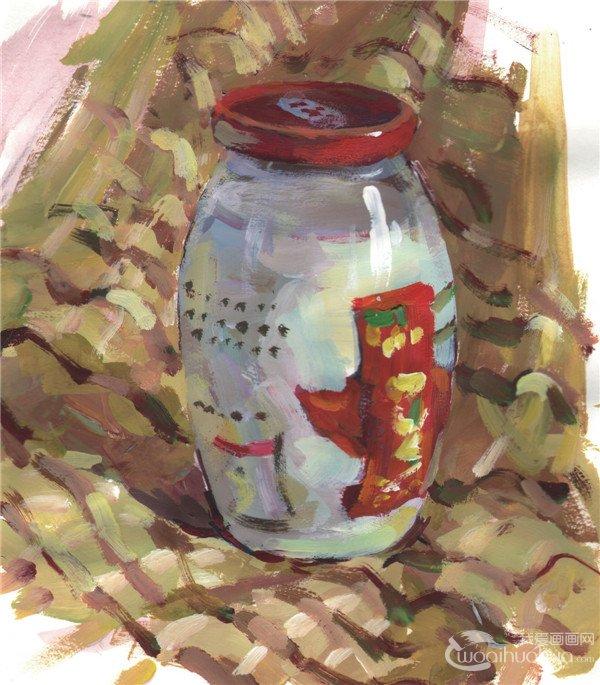 步骤五:深入刻画瓶子的细节,充分塑造瓶子的质感,然后再画出布纹