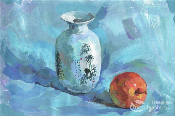 水粉瓶子和苹果的绘画技法