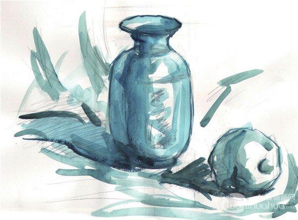 水粉瓶子和苹果的绘画技法(2)