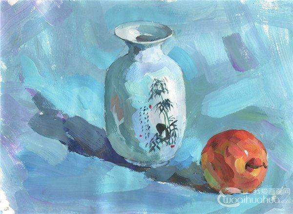 水粉静物组合瓶子和苹果绘画步骤五