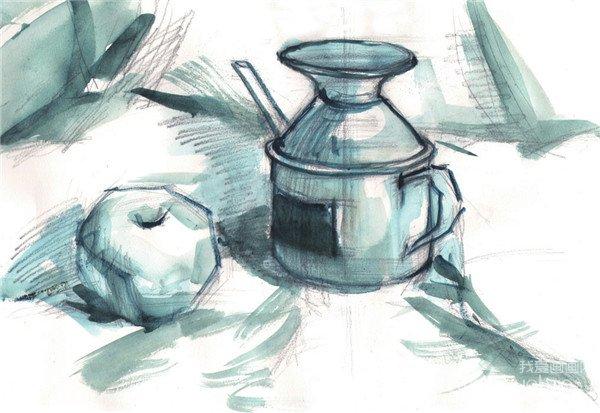 水粉醋壶和苹果的绘画步骤二