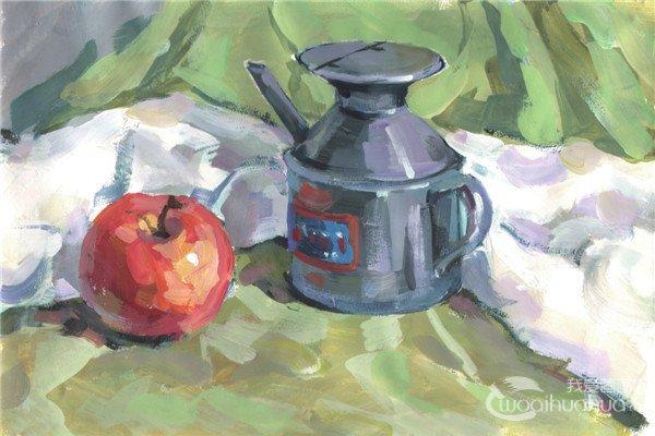 水粉醋壶和苹果的绘画技法