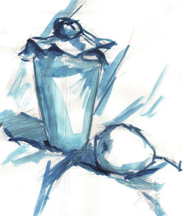 然后铺出酒瓶与梨的单色稿