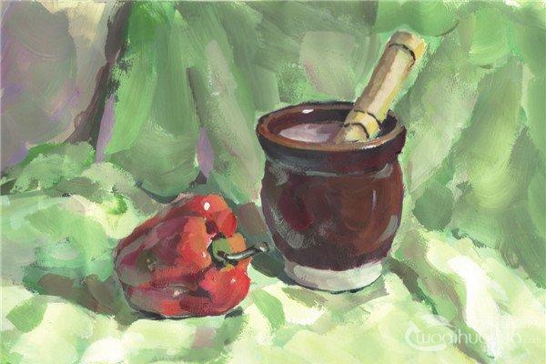 水粉蒜臼和青椒的绘画教程
