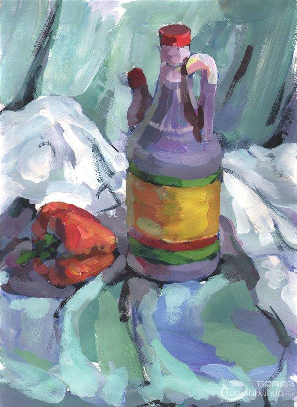 水粉静物画 > 水粉静物组合写生入门:醋壶和青椒的画法      步骤三