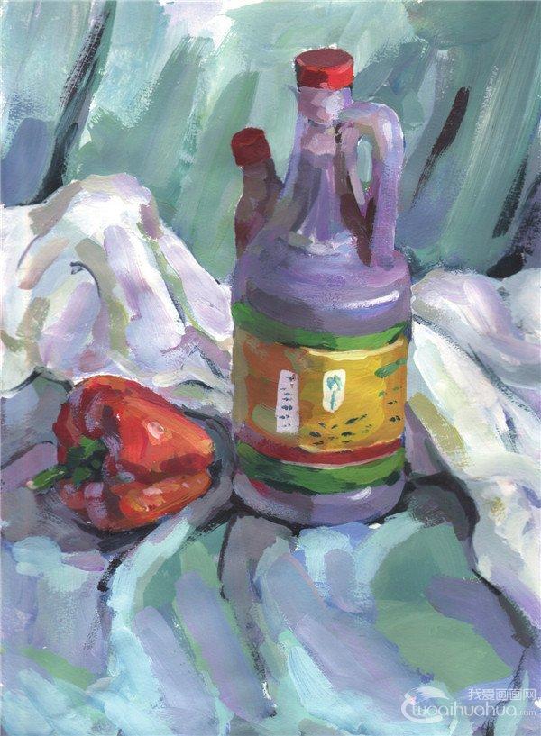 水粉静物组合写生入门:醋壶和青椒的画法