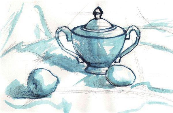 水粉静物组合写生:瓷壶,水果和鸡蛋组合的教程(2)