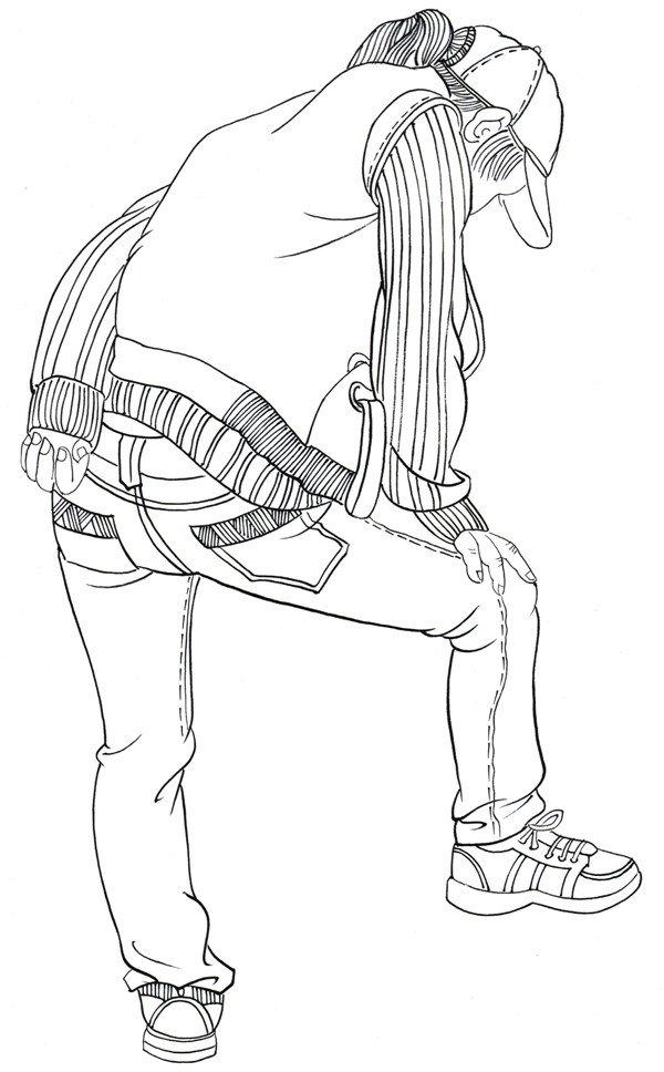 白描人物戴帽女孩背面画法教程