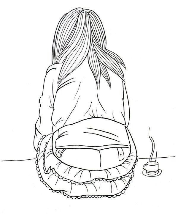 坐着的女孩手绘