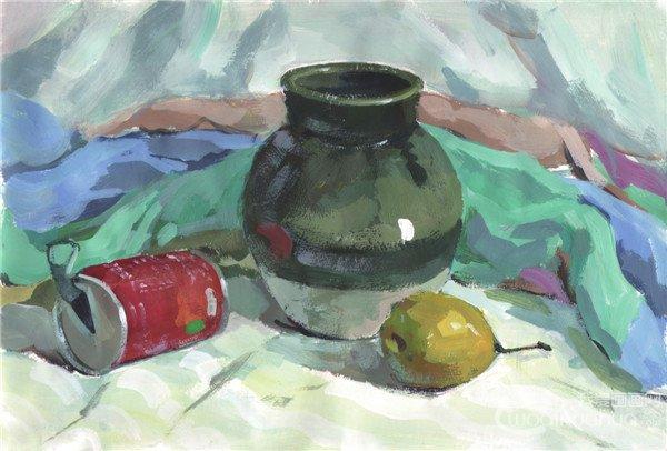 水粉静物组合写生入门 绿色陶罐组合的画法 2
