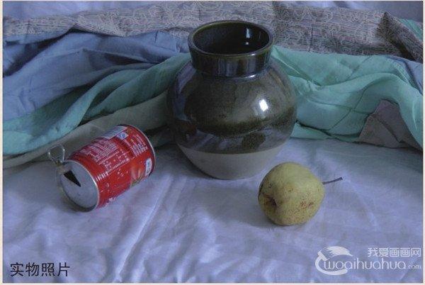 水粉静物组合写生入门:绿色陶罐组合的画法