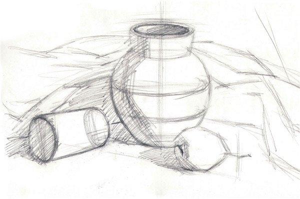 步骤三:整体观察静物,迅速铺出罐子,易拉罐和梨子的大色块.
