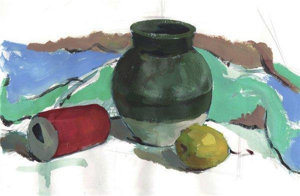 水粉静物组合写生入门 绿色陶罐组合的画法