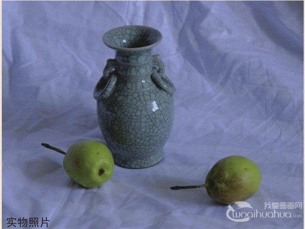 水粉静物组合写生:瓷瓶和梨组合画法