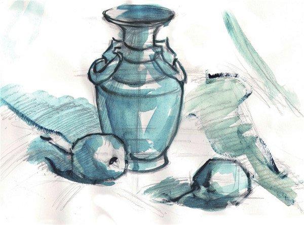 水粉瓷瓶和梨静物组合的 绘画步骤    步骤一:先用 铅笔画出瓷瓶