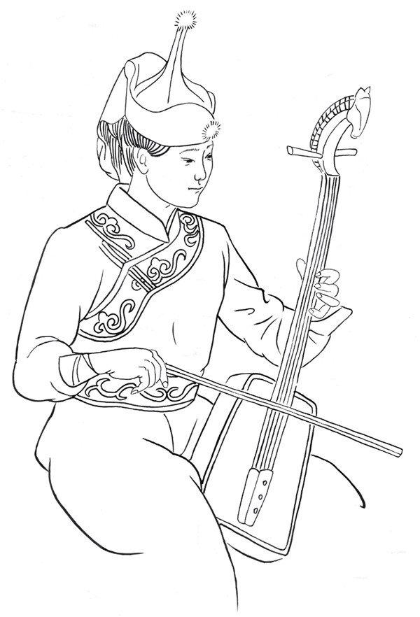 白描拉琴的蒙古族少女的绘画步骤三图片