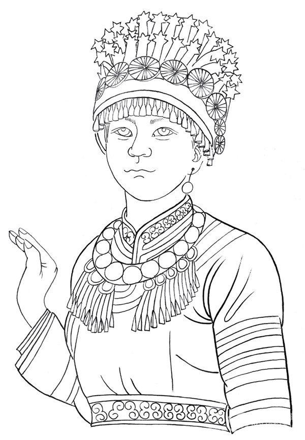 白描少数民族人物欣赏与画法(3)