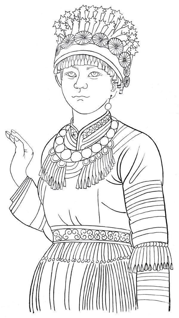 白描苗族少女的绘画步骤三