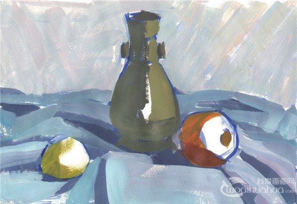水粉静物组合写生入门 瓶子和水果组合的画法
