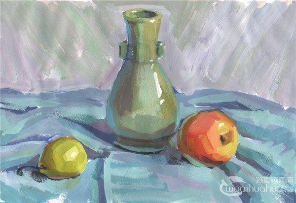 水粉静物组合写生入门 瓶子和水果组合的画法 2图片