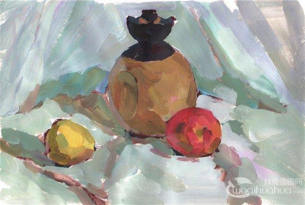 水粉画酒壶和水果静物组合的绘画教程(2)