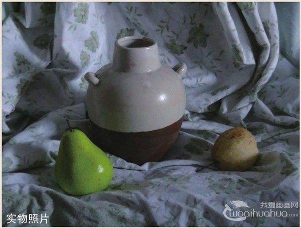 水粉静物组合罐子和水果的入门画法